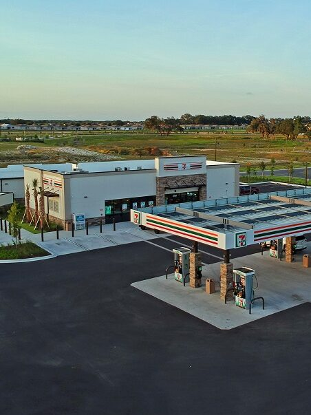 gas station architecture aerial view